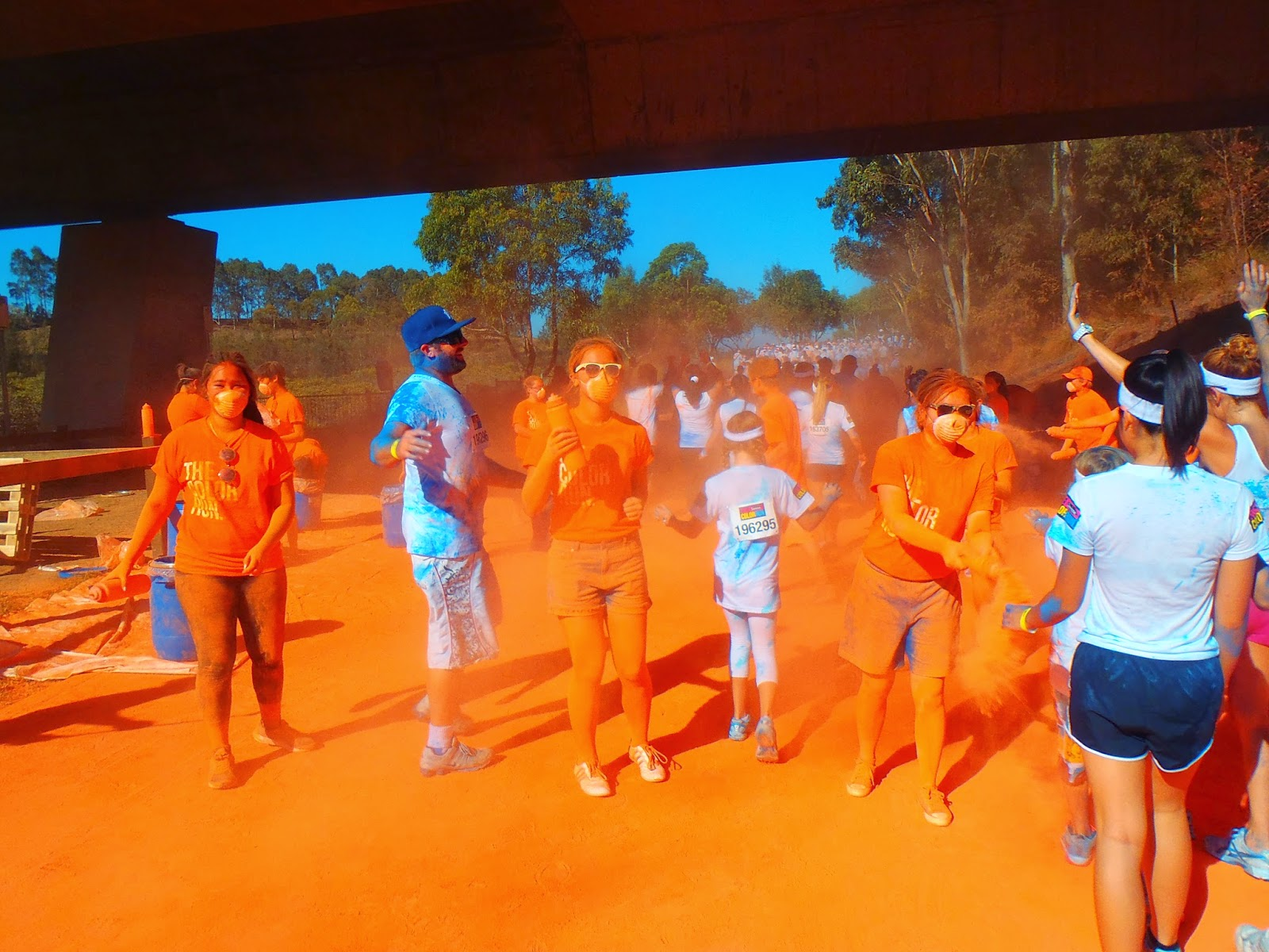 the orange section at colour run