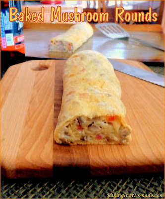 Baked Mushroom Rounds are a simple snack or appetizer for any party or afternoon watching the game. The ingredients are sautéed, rolled into a crescent sheet and baked, then slice and serve. | Recipe developed by www.BakingInATornado.com | #recipe #appetizer