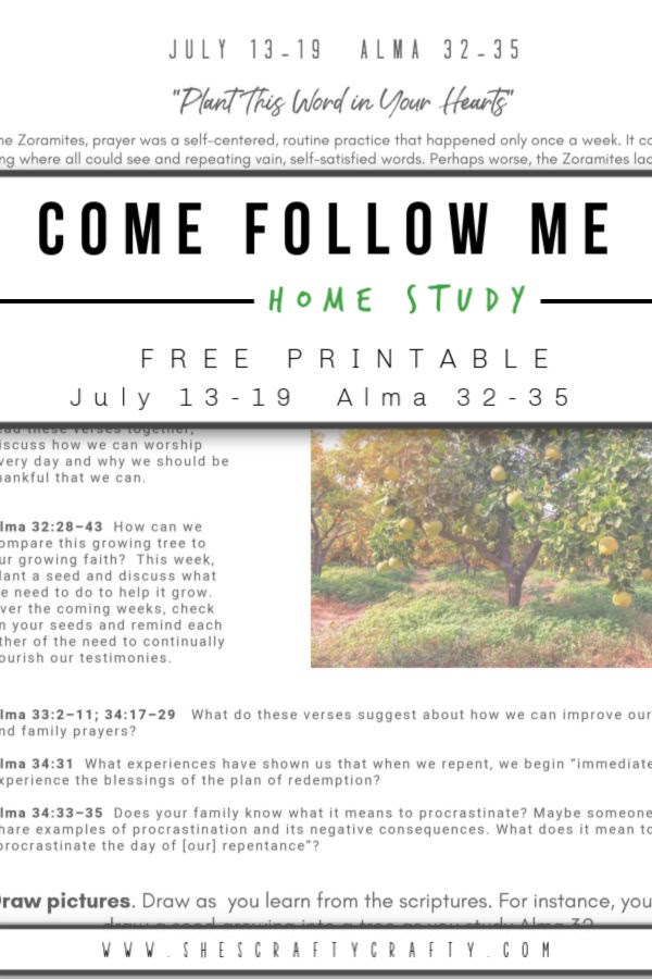 Come Follow Me - Free Printable -  July 13-19