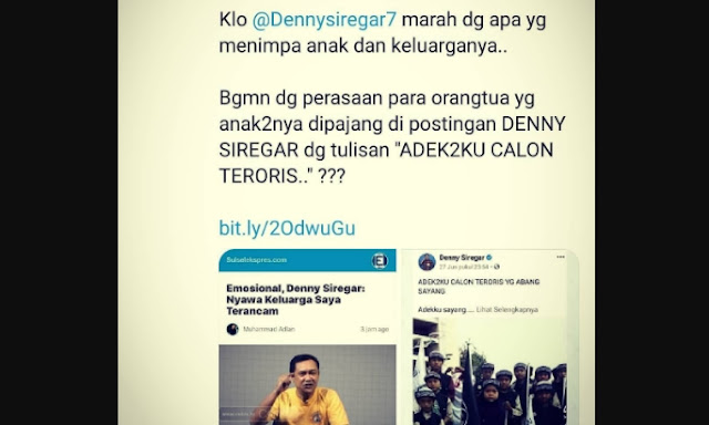 Penggiat media sosial Denny Siregar bercerita dengan penuh emosional bagaimana teror yang diterima keluarganya usai data pribadinya bocor ke publik.