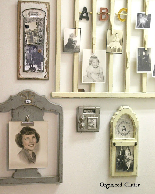 Repurposed Photo Holder Gallery Wall www.organizedclutter.net