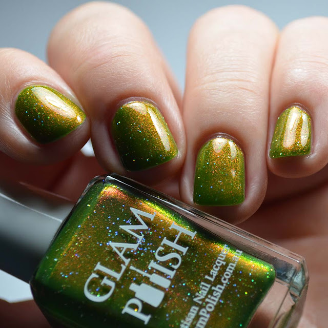 olive green nail polish with shimmer