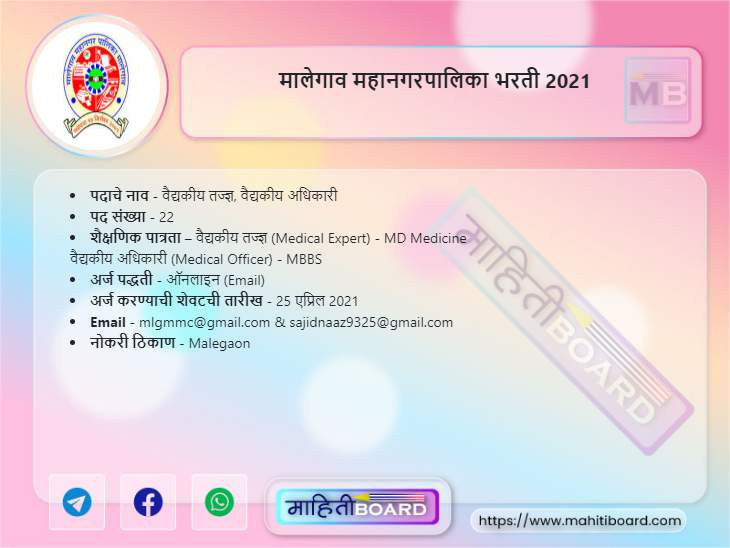 Malegaon Mahanagarpalika Bharti 2021