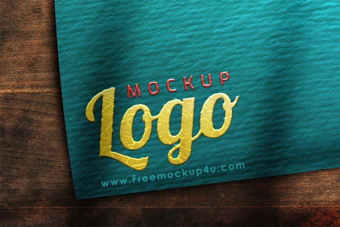 Logo Mockup Paper on Wood Table