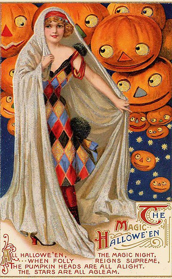 Старинные открытки в честь Хэллоуина - 13