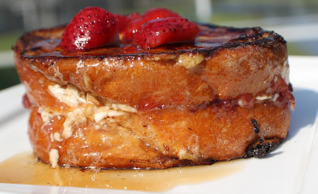 this is stuffed french toast with strawberry filling and cream cheese