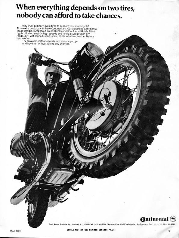 Continental Tyres - USA 1969 Vintage Print Advertisement