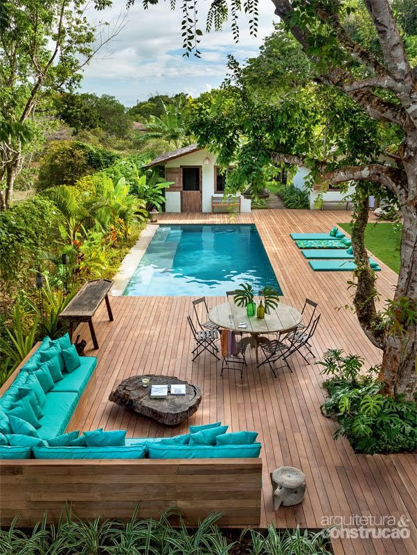 Patio Ideas Teal Pillow Cushions Sunbathe Layout Mats Wood Flooring Panels Pallet DIY Zero Edge Pool Table Trees Green White House