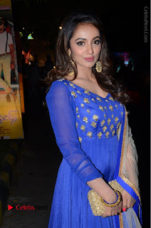 Telugu Actress Tejaswi Madivada Pos in Blue Long Dress at Nanna Nenu Na Boyfriends Audio Launch  0058.JPG