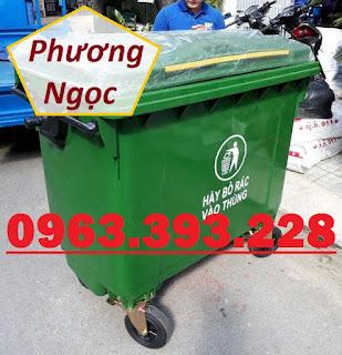 Xe gom rác nhựa HDPE 4 bánh xe, xe đẩy rác nhựa 660L, xe rác công nghiệp 49f1b8f2d330356e6c21