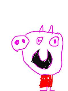 Peppa Pig dibujada y coloreada