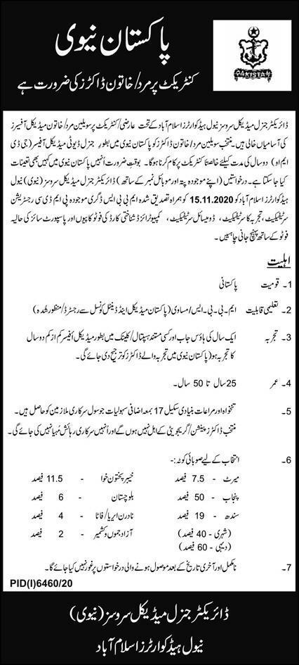 Join Pakistan Navy As Civilian Doctor (General Duty Medical Officer GDMO) Jobs 2021 in Pakistan