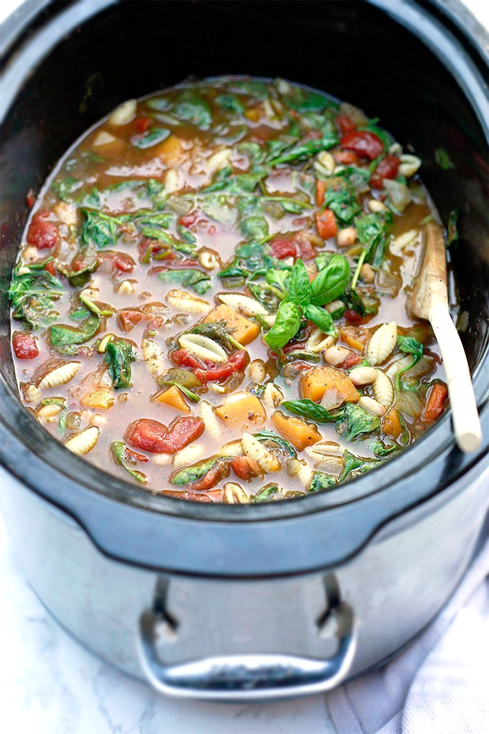 Vegetarian Slow Cooker Minestrone and 10 more easy vegan soups.