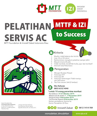 Open Recruitment Pelatihan Service AC By MTT Fondation & Inisiatif Zakat Indonesia - Riau