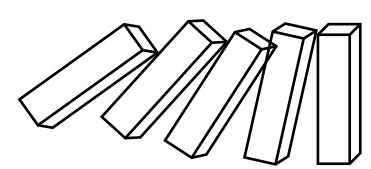 Jika salah satu domino jatuh maka akan menimbulkan efek bagi domino lainnya