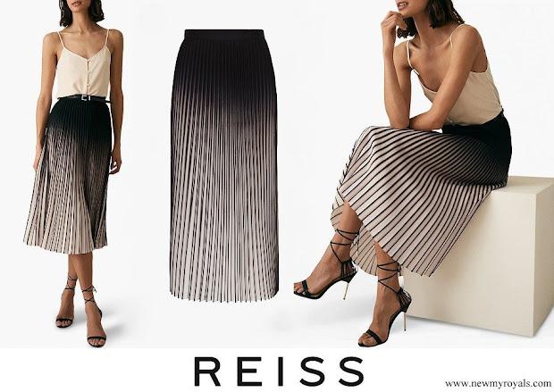 Queen Letizia wore Reiss Marlie Contrast Pleat Midi Skirt