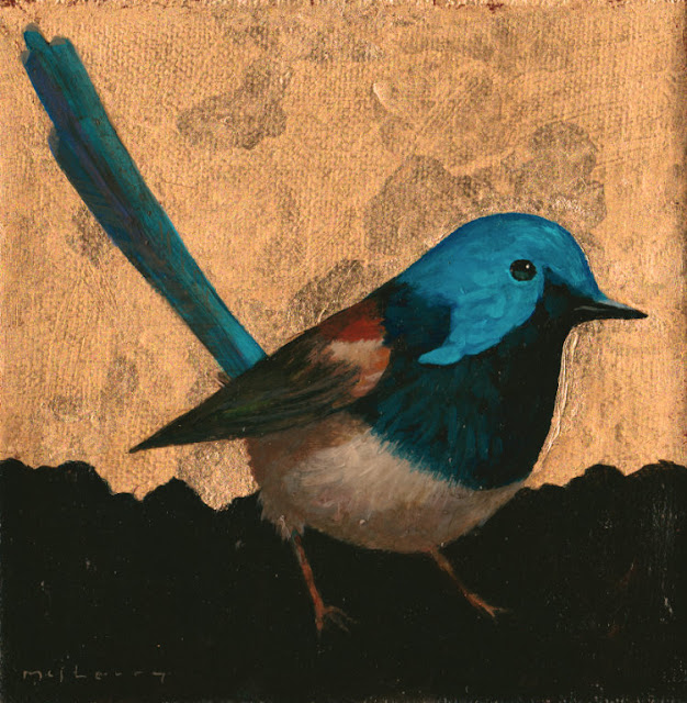 "A painting of the lovely fairy wren in gilded acrylics on canvas. 6"" x 6"""