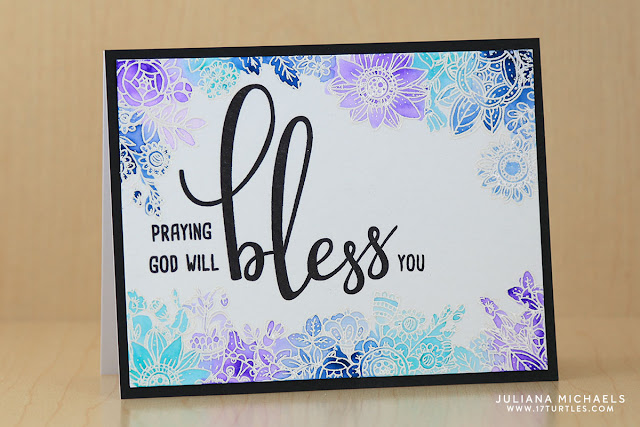 Bless You Card with watercolor and heat embossing by Juliana Michaels featuring Honey Bee Stamps