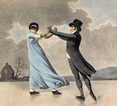 Skating Lovers (1800)  Drawn by Adam Buck; published William Holland; engraved by   Piercy Roberts & JC Stadler © British Museum no. 1932,1019.1