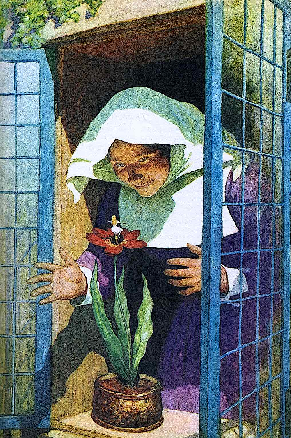 an N.C. Wyeth illustration of a nun