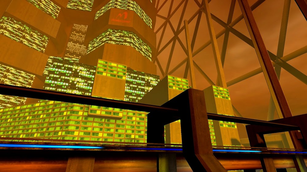 Brutalist Martian city architecture in Chaser video game