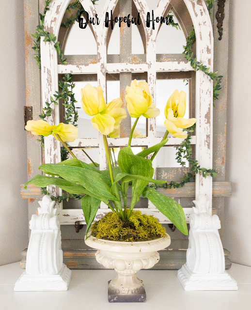 vintage style urn planter faux yellow tulips