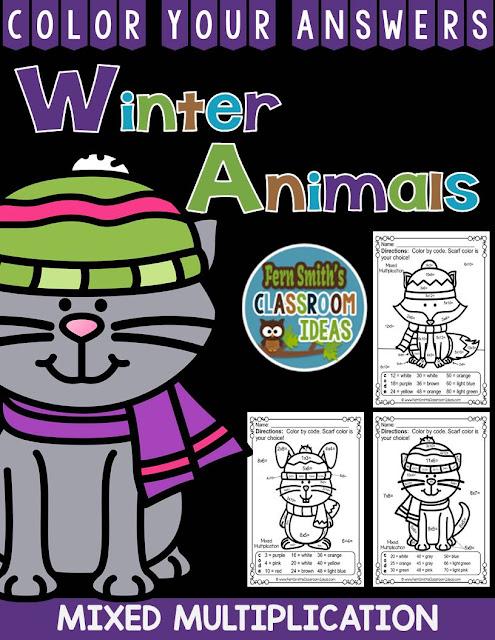 Fern Smith's Classroom Ideas Winter Animals Multiplication Color Your Answers at TeachersPayTeachers, TPT.