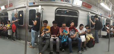 inside lrt line 2 coziest than lrt 1 and mrt bigger and can accomodate many passengers