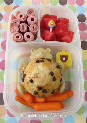 Pancake muffin, ham roll-ups lunch in Easylunchboxes