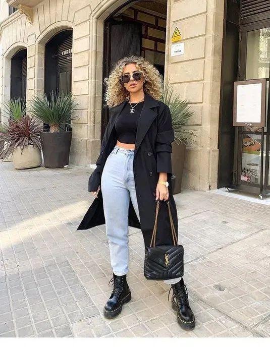 @missjoslin dr martens jadon boots black blazer vintage mom jeans saint laurent loulou bag