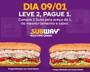 Promoção Subway 2020 Leve 2 Pague 1 [09/01]