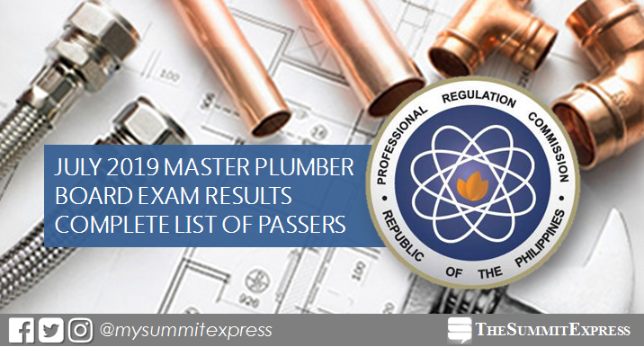 FULL RESULTS: July 2019 Master Plumber board exam list of passers, top 10
