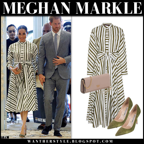 Manolo Blahnik in striped white and green midi dress martin grant royal tour tonga outfits october 26