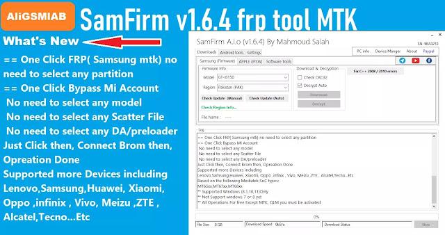 SamFirm v1.6.4 frp tool MTK Bypass
