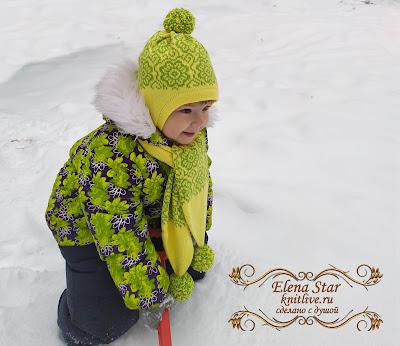 Комплект шапка с ушками и шарфик