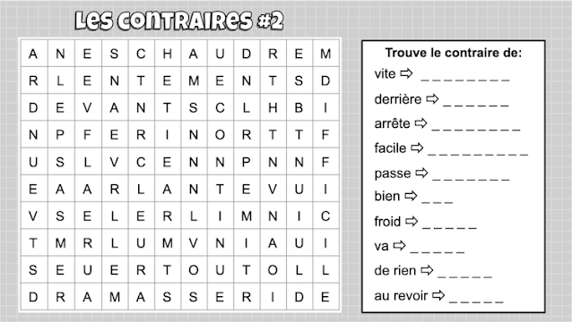Les contraires 2 word search Google Jamboard #aimlang