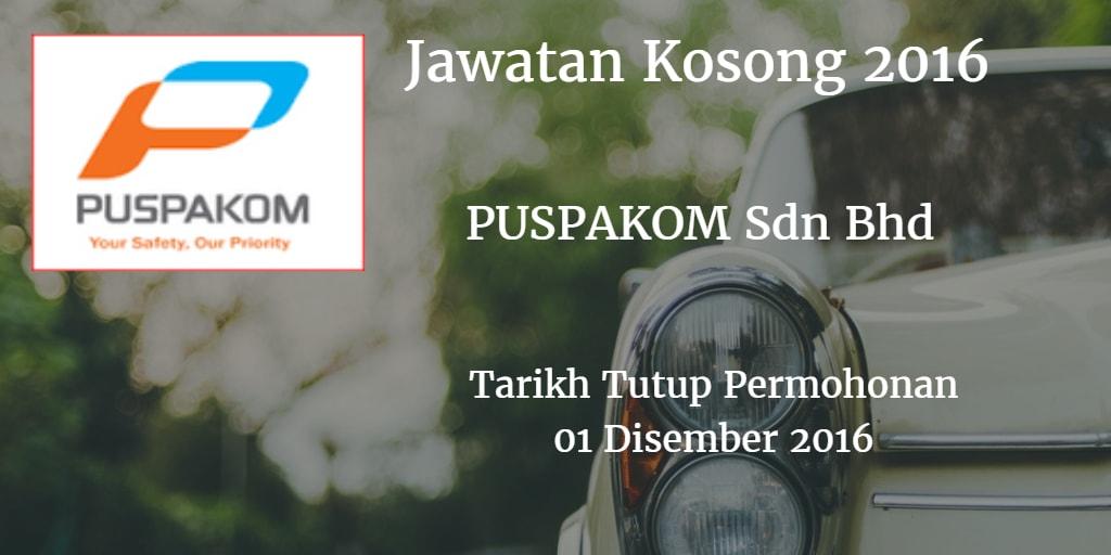 Jawatan Kosong PUSPAKOM Sdn Bhd  01 Disember 2016