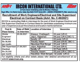 IRCON Recruitment 2021 34 Works Engineer Posts