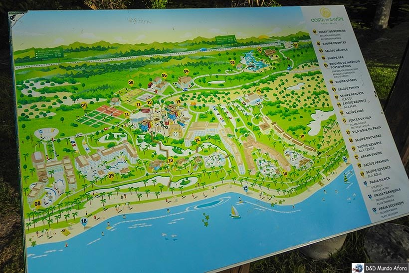 Mapa do Costa do Sauípe - resort all inclusive na Bahia