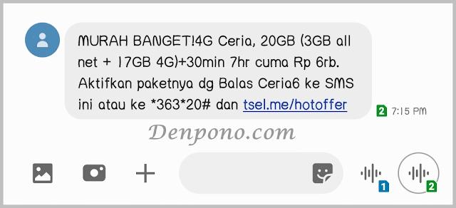 paket 4g ceria telkomsel 6000