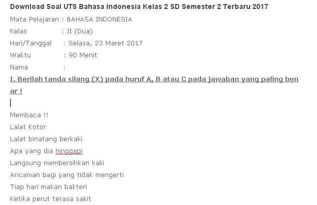 Download Soal Uts Bahasa Indonesia Kelas 2 Sd Semester 2 Terbaru 2020 Idn Paperplane