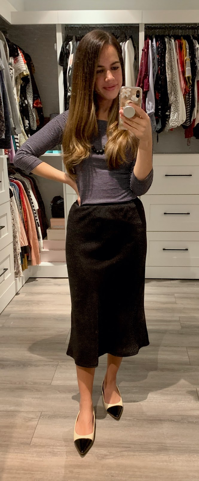 Jules in Flats -  Striped Boat Neck Tee with Black Midi Skirt (Business Casual Workwear on a Budget)