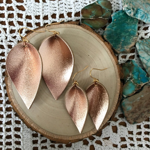 rose gold leather earrings