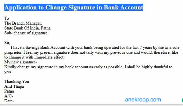 application to change signature in bank account