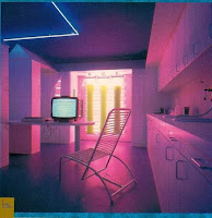 digital graphic showing empty kitchen with computer and chair, liminal space, in pinks blue and purple
