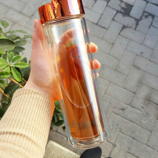 rose gold thermo bottle fittea