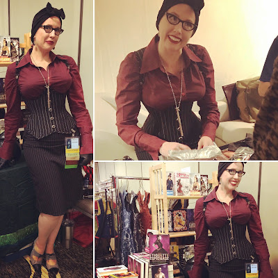 Gail Carriger at DemiCon in Burgundy & a Pin Striped Corset by Dark Garden