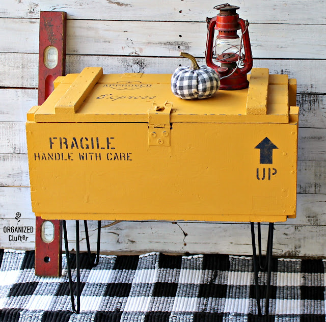 A Colonel Mustard Shipping Crate Table with Old Sign Stencils #oldsignstencils #stencil #repurpose #shippingcrate #crate #garagesalefind #colonelmustard #upcycle