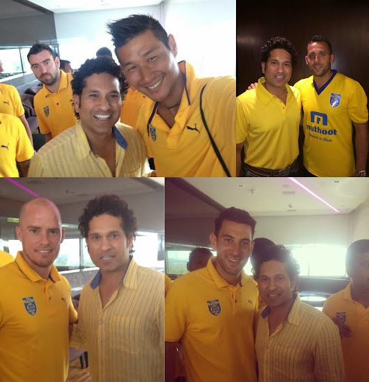 PHOTOS : Kerala Blasters Team Meets Sachin Tendulkar in Kochi ~ Cricmates