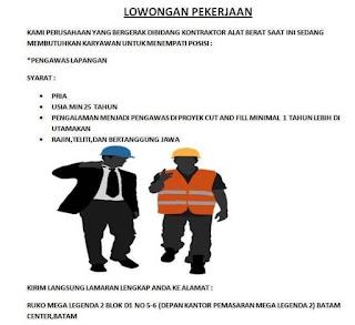 Lowongan Kerja Pengawas Lapangan di Kota Batam